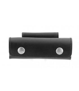 Etui en cuir noir horizontal 2 pressions 12/13  cm