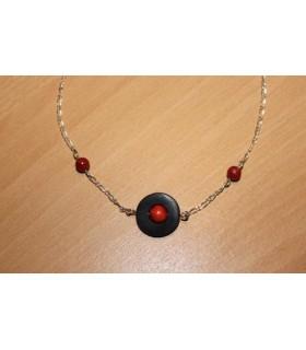 Collier 3 planètes corail naturel rouge et ébène