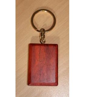 Porte-clef luxe en bois rectangle (Bois de rose